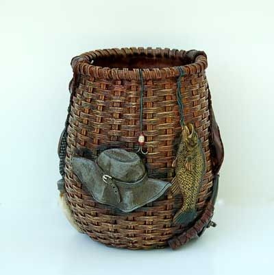 Decorative Fishing Baskets | ... Lodge or Cabin » Rustic Waste Baskets » Gone Fishing Waste Basket