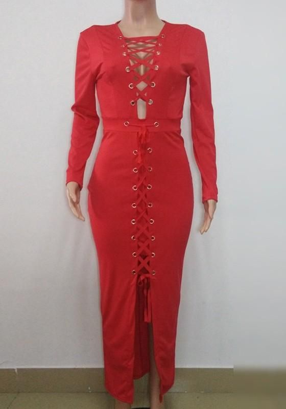 6f37036c58 Red Cross Lace-up Bodycon Long Sleeve Deep V-neck Clubwear Maxi Dress