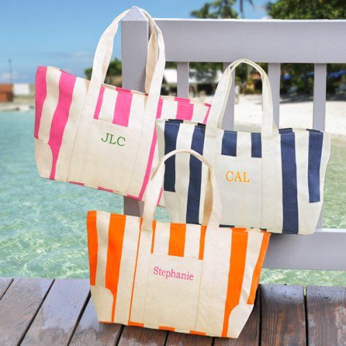 Embroidered Canvas Beach Totes by Beau-coup