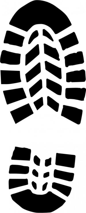 PublicDomainVectors.org-Male shoe footprint vector clip art. Black and white image of shoe print.