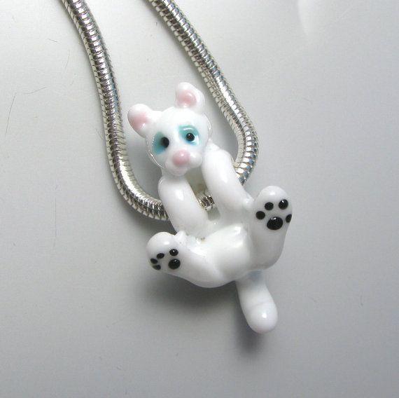 White Kitty Cat Buddy Hanging Glass Bead on Chain Necklace handmade lampwork…