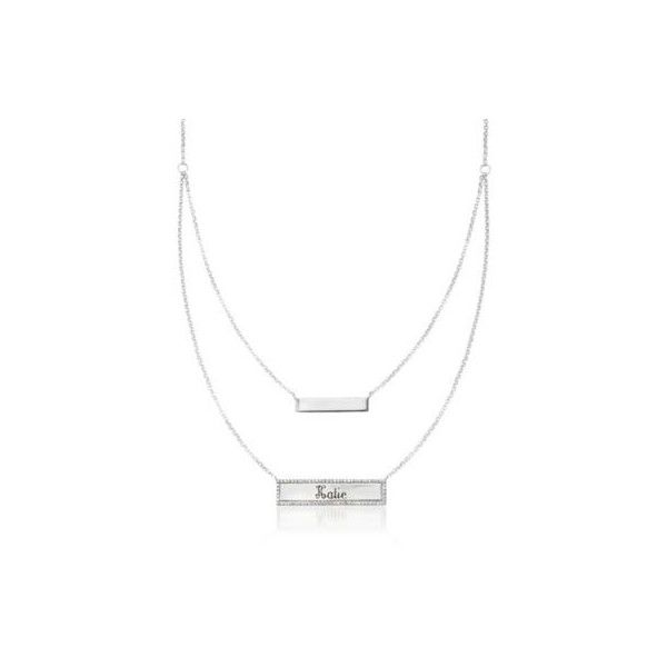 Ross-Simons Diamond Layered Name Bar Necklace in Silver. 20 inches, .20ct t.w. featuring polyvore, women's fashion, jewelry, necklaces, engraved bar necklace, diamond necklace, birthday necklace, silver bar necklace and silver layered necklace