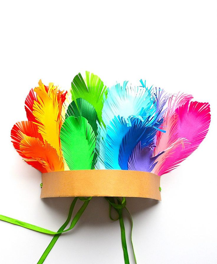 Rainbow colors, paper feathers