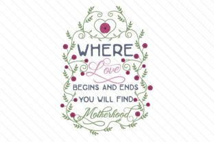 Where love begins and ends you will find motherhood - Creative Fabrica