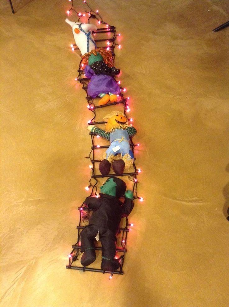 lighted 10 halloween ladder decoration - Lighted Halloween Decorations