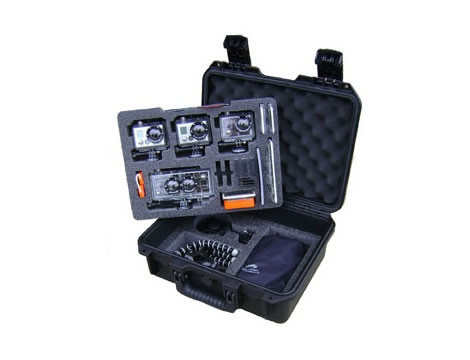 GoProfessional Deep Triple GoPro & 3D HERO Hard Camera Case - GoProfessional hard Go Pro Camera case. Rugged watertight, crushproof case for your GoPro 3D HERO and three GoPro HD HERO, or HD HERO2 cameras. Not to mention all of your accessories