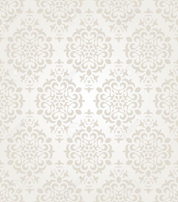 Vintage Flower Wallpaper White