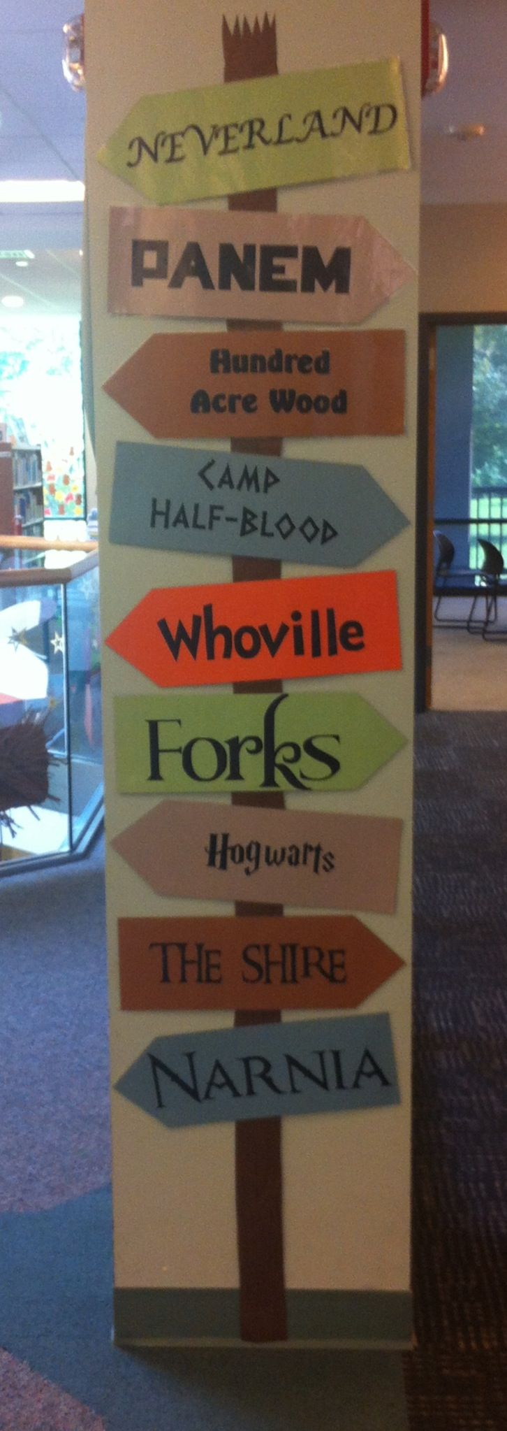Favorite Fictional Places Directional at Comsewogue Public Library