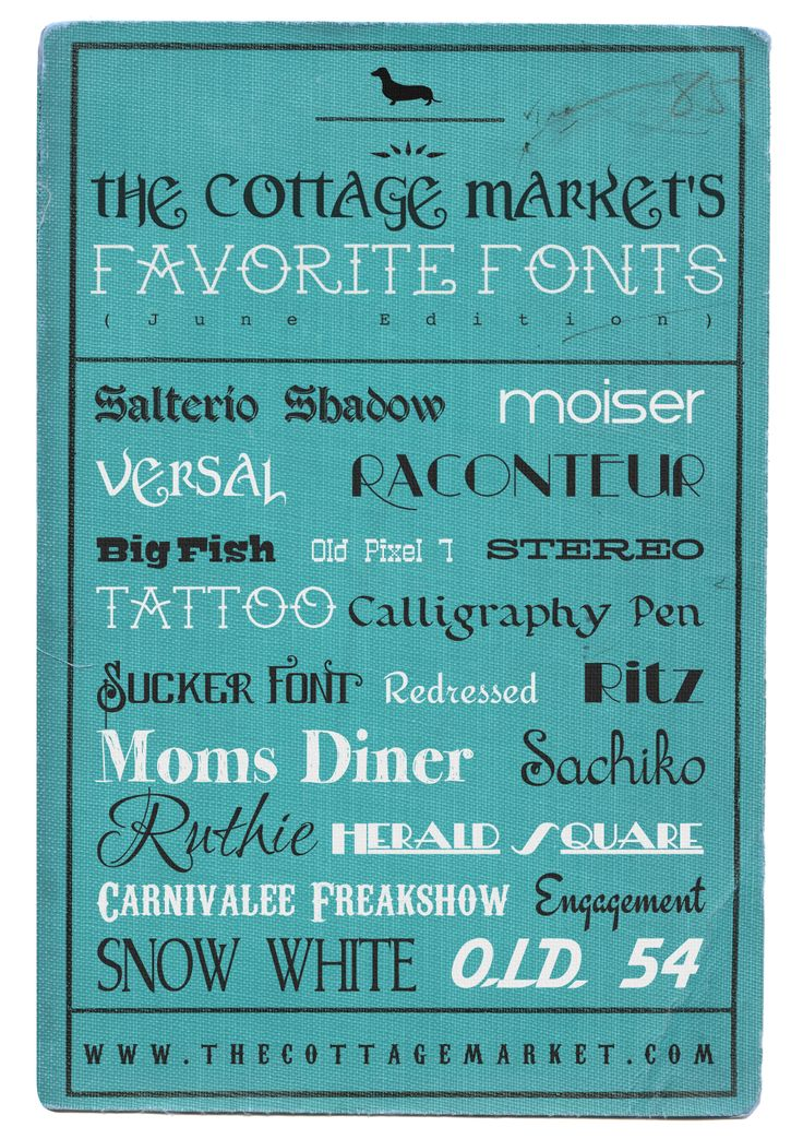 Favorite Fonts of the Month from The Cottage Market