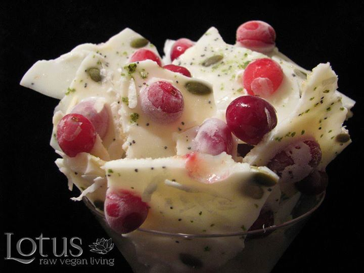 Coconut Lemon Cranberry Bark with hemp flakes,pumpkin and poppy seeds  lotus raw vegan original recipe*