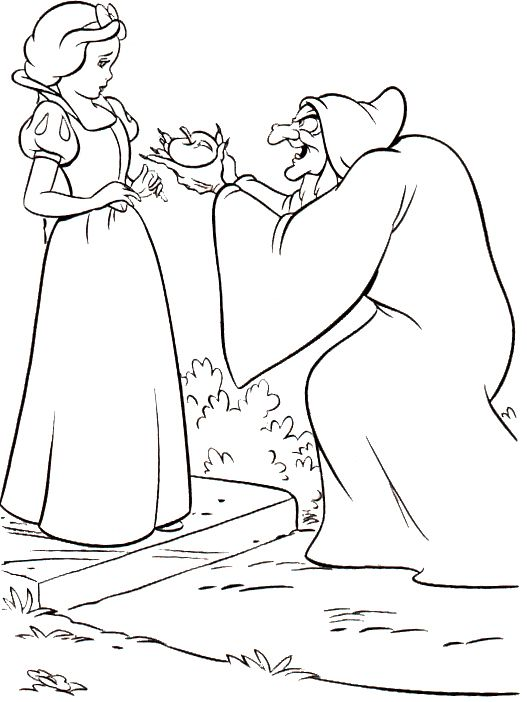 Snow White With The Wicked Witch Coloring Pages - Snow White cartoon coloring pages