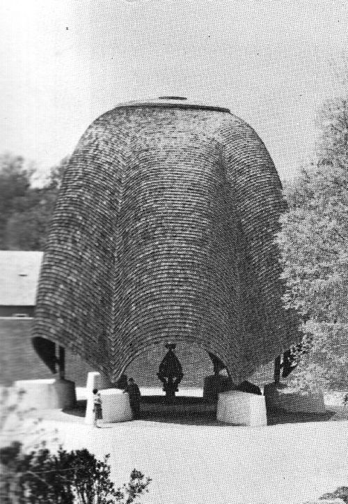 PHILIP JOHNSON ROOFLESS CHURCH IN NEW HARMONY, INDIANA, 1960