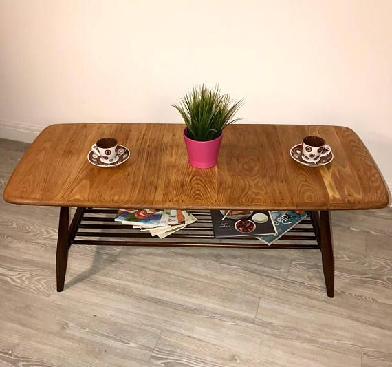 Vintage Retro Mid Century 1960s Ercol Coffee Table in Solid
