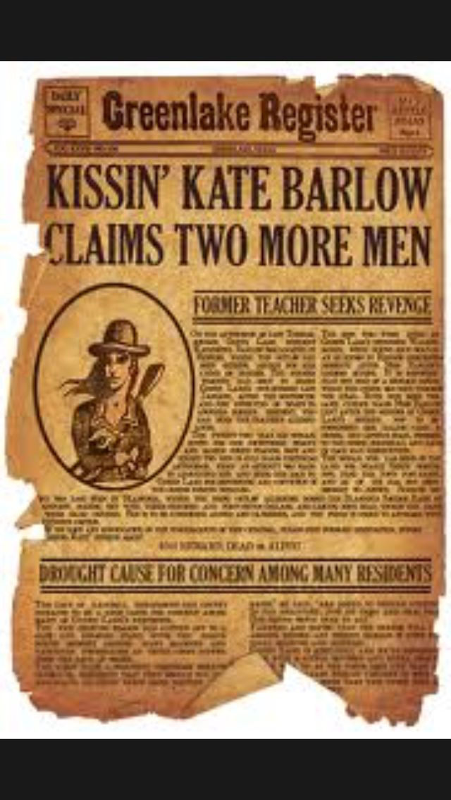 kissing kate barlow newspaper The story of katherine barlow  the two and the news spread in the small town like fire  banks and kissing her victims, kissin' kate barlow .