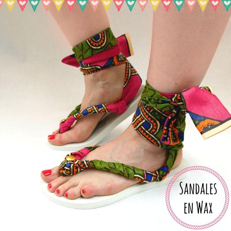 Avec du tissu wax, transformez facilement des tongs en plastique en superbes sandales en wax pour l'été ! Des chaussures colorées avec des perles brodées.