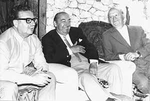 From left: Chilean president Salvador Allende – who died during Pinochet's coup – with Pablo Neruda and communist politician Volodia Teitelboim.