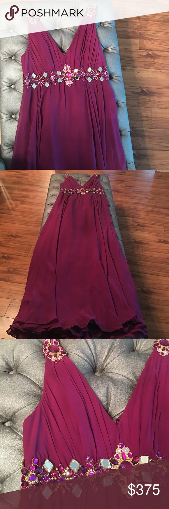 Marchesa dress Stunning Marchesa gown. Size 4. Very flattering on  jeweled on shoulders and above waist. Magenta color worn only once. Marchesa Dresses Asymmetrical