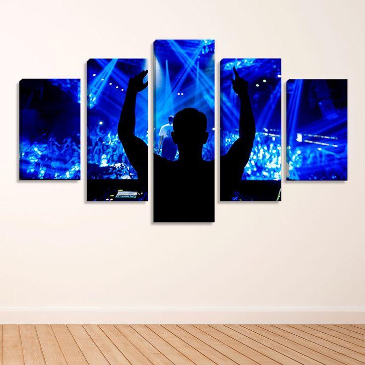 5er Set Dekorative Leinwand Fotografie Style Dance Electronic DJ – montiert: 90x160cm (A-L) Unikat   – Products