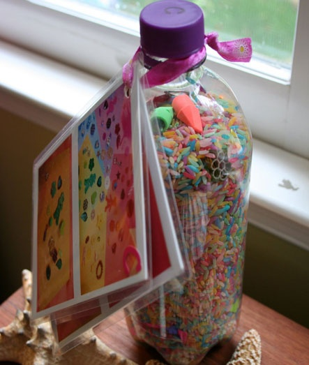 Sometimes you need a quiet-time activity, and Eye-Spy bottles are a fun and easy option.  Eye-spy activities build a child's awarenesss of shape, color and recognition.  Comb your junk drawer and the bottom of kids' toy boxes for items to hide in the bottle.