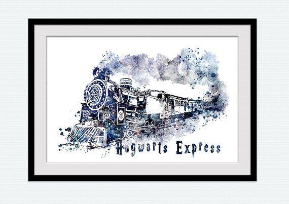Harry Potter aquarel kunst afdrukken Zweinstein express