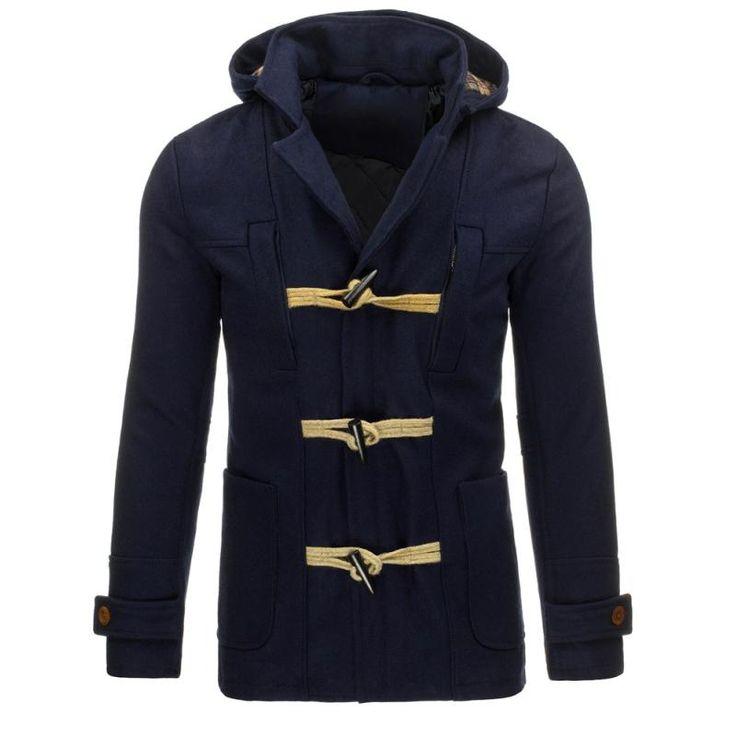 Pánská zimní bunda s kapucí modrá