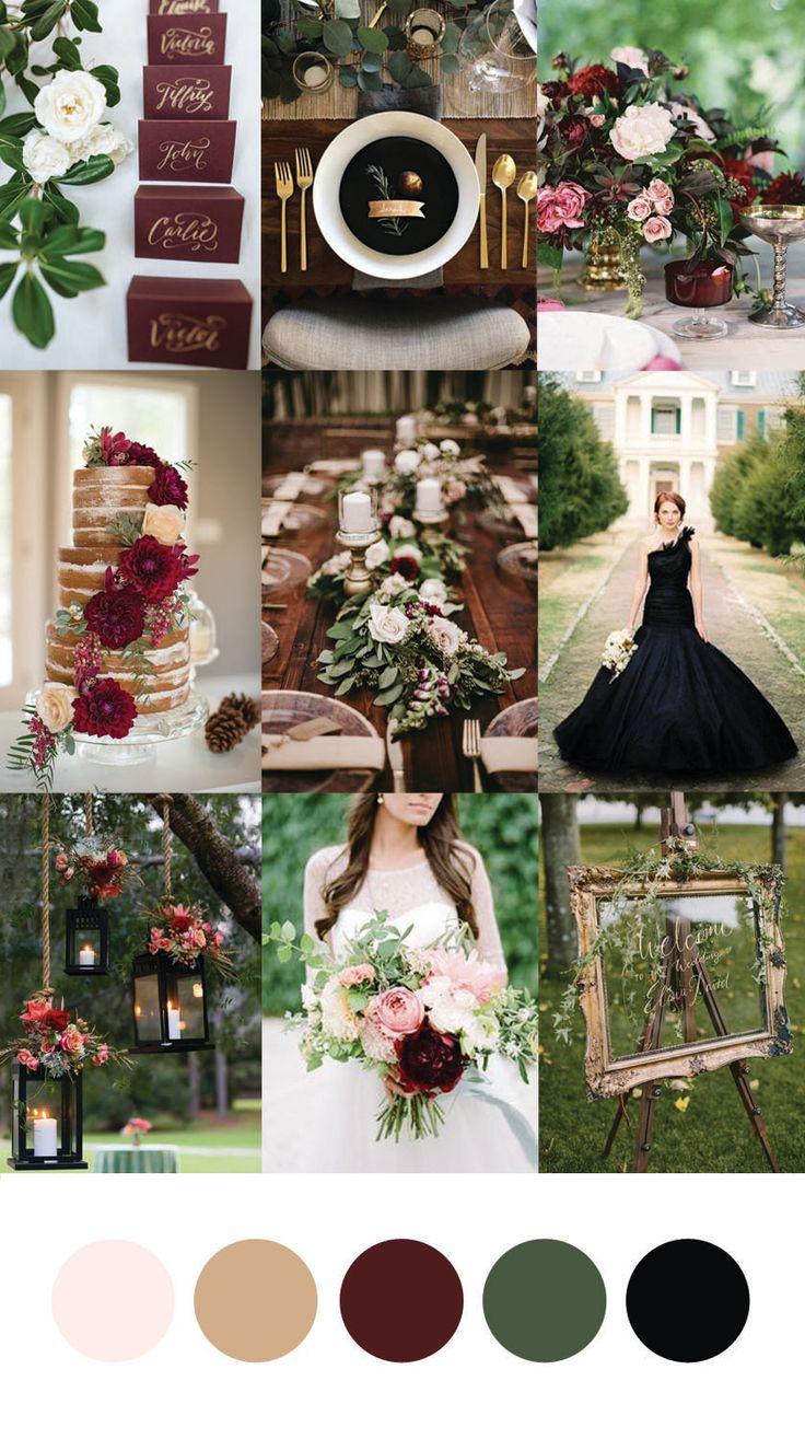 For today's Wedding Wednesday Inspiration we paired burgundy with eucalyptus green to add a nice rustic touch, a soft blush to lighten the palette, and gold and black for a touch of elegant glam. This would be perfect for a fall/winter wedding and is the perfect way to incorporate red and green with a twist! Burgundy and Eucalyptus Wedding Inspiration | Laurel and Kennedy