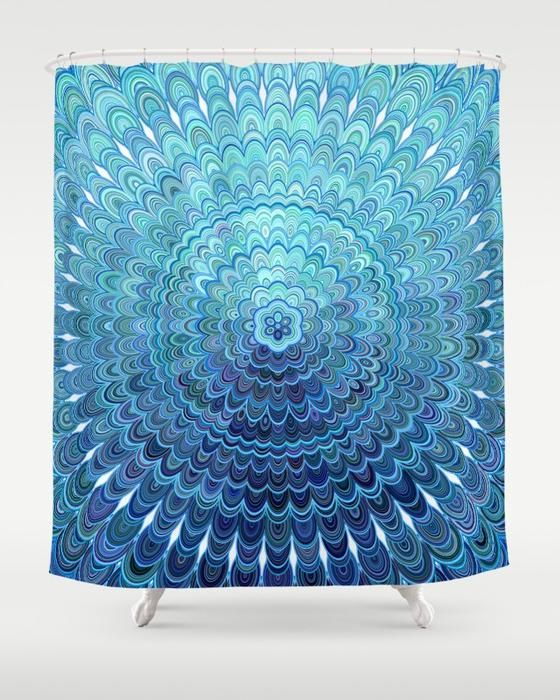 SOLD: Frozen Oval Mandala Shower Curtain by David Zydd  #gifts #showercurtain #bathroom #giftidea #xmas