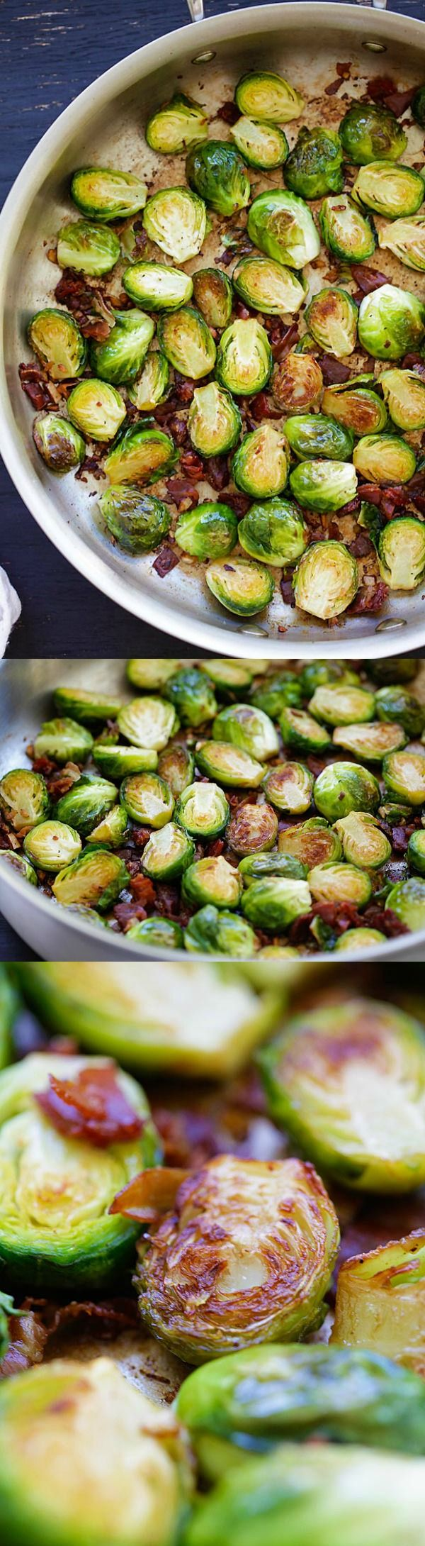 #thanksgiving #sidedish Garlic-Prosciutto Brussels Sprouts – roasted brussels sprouts with smoky prosciutto. Saute on skillet and finish in oven, 20 mins only | rasamalaysia.com