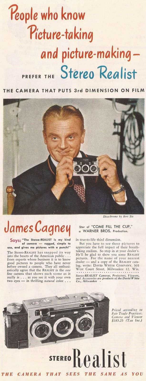 James Cagney in a Stereo Realist camera ad from Holiday magazine, November 1951
