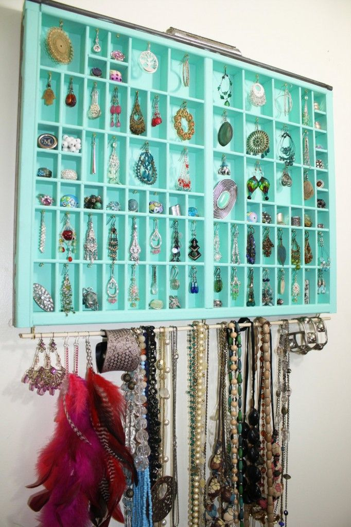 Why did I not think of this?? Type drawer on wall for earrings and jewelry! Going on my project list.  34 Ideas How To Store Your Jewelry
