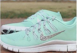 Swarovski Crystal Nike Free 5.0 Tiffay Blue Bling Tick Shoes 2015