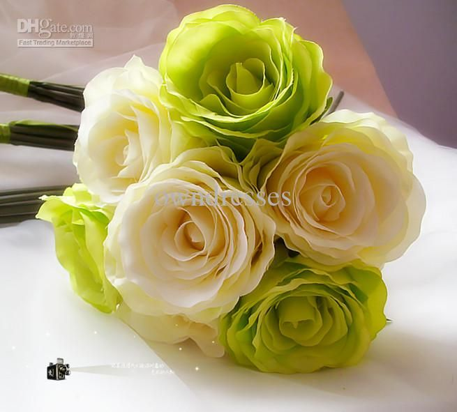 Ivory Green Hot sale Popular artificial flowers Wedding Bouquet Throw Bouquet Bridal Bouquets FB0018