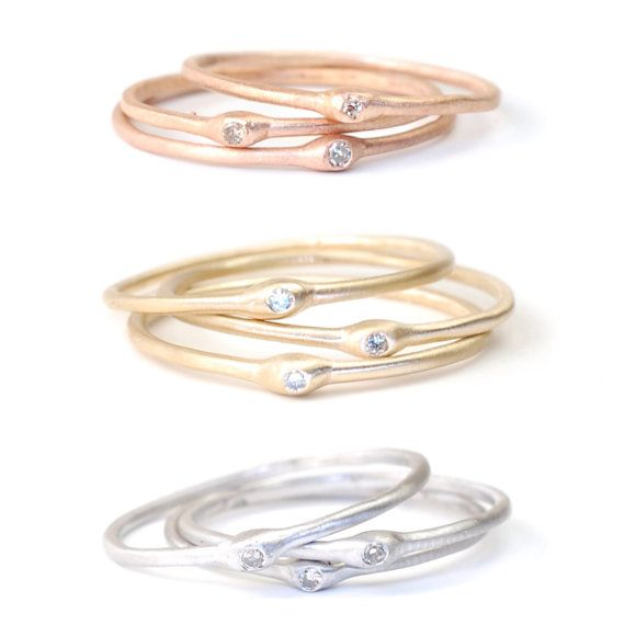 Stacking Rings Diamond Ring Engagement Ring Stacking Gold by NIXIN