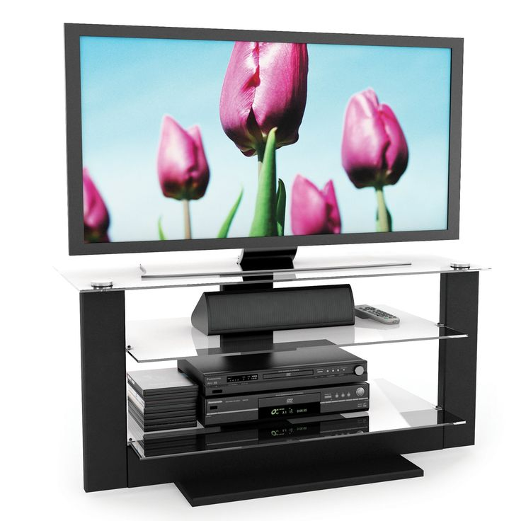 Sonax AT-1420 Atlantic 40-Inch Midnight Black TV Stand with Glass Shelves