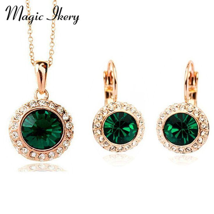 Magic Ikery New Fashion Wedding Crystal Jewelry Sets Vintage Moon River Rhinestone Necklace Earrings for Women IKK8558