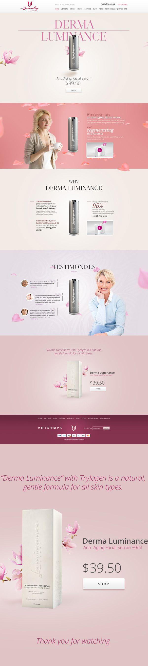 Web design / Landing page. Beauty Product Promotions - Derma Luminance.