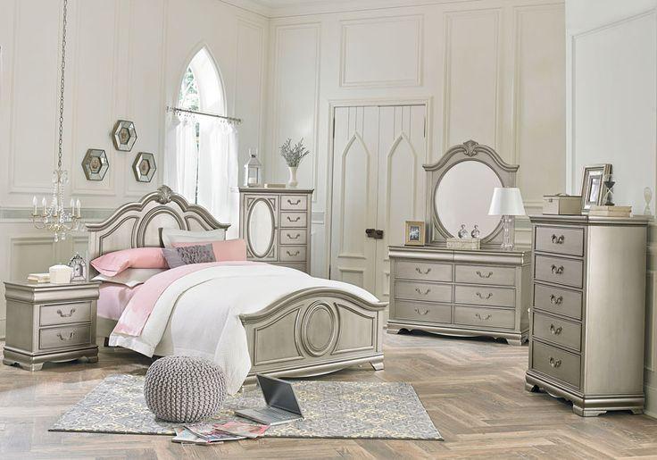 Grace Silver 5 PC Twin Bedroom  Kids Beds  Silver