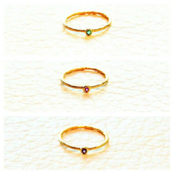 Sterling Silver - Gold Plated rings / Emerald,  Ruby,  or Amethyst / Handmade / Natural Semi-Precious Stones / sizes 5, 6, & 7 / simple elegance or great for stacking / $25 each / message me to purchase at lotusbyleslieann@gmail.com / Limited availability