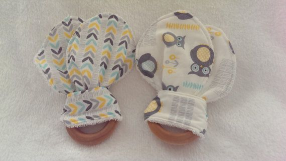Blue Yellow Grey Owl wooden teething rings  by StitchesByNicole
