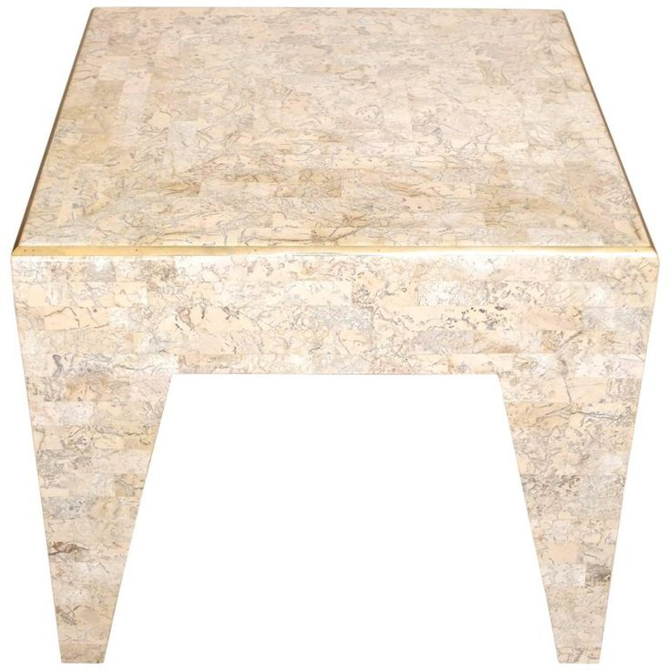 Tessellated Stone and Brass Square Occasional Table by Maitland Smith | From a unique collection of antique and modern coffee-tables-cocktail-tables at https://www.1stdibs.com/furniture/tables/coffee-tables-cocktail-tables/
