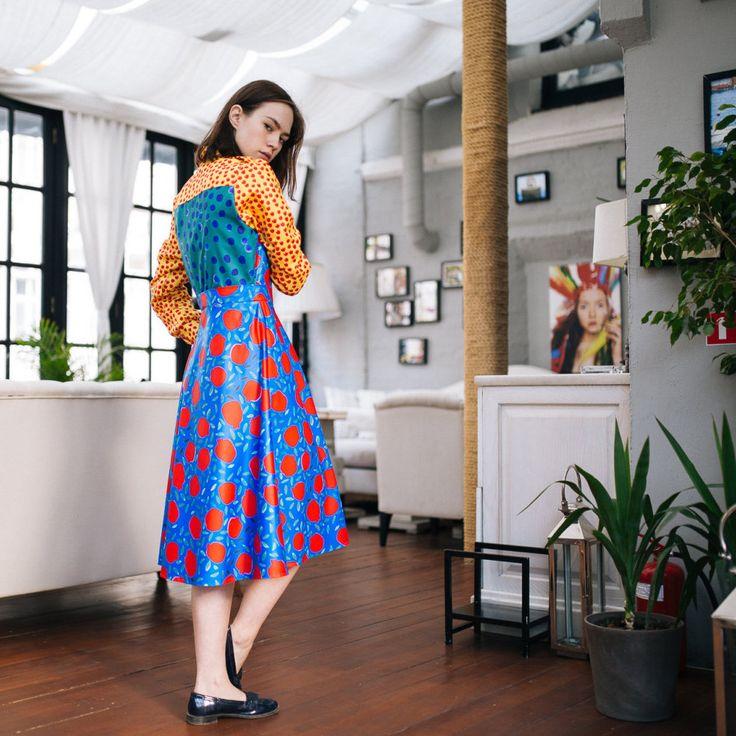 Pomegranates print Midi Dress,Unique dress, Prints mix,Designer Dress,Tulips print,Vintage style dress,Printed Dress, Trendy Dress, Harajuku by LikeShop2U on Etsy
