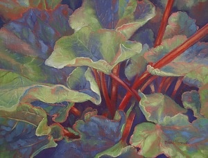 in the midst of a Rhubarb patch, I had so much fun painting this