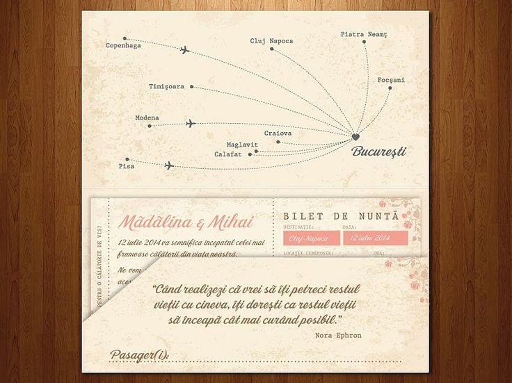 """Wedding invitations ideas/Idei invitatii de nunta originale.  Invitaţie de tip """"bilet de îmbarcare"""" cu plic personalizat."""