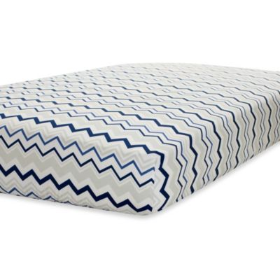 Buy Just Born® Mix & Match Safe Sleep Fitted Crib Sheet in Navy/Grey Chevron from Bed Bath & Beyond