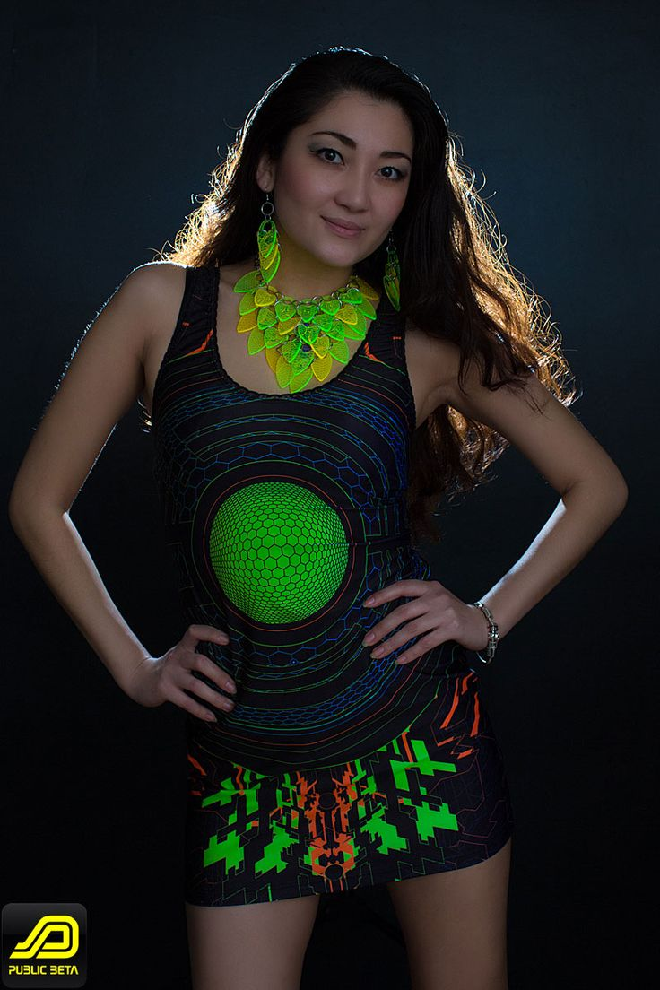 Trancemitter Dress by Public Beta Wear,  Cyberdelic, futuristic art on clothing that glows in blacklight. Festival clothing. www.publicbetawear.com ,   Clothing: Public Beta Wear, Accessories: Electric Candy Couture, Photography: Ted Zav Studio NY,  #publicbetawear #festivalfashion #blacklightclothing #cyberstyle #partywear