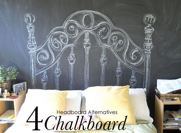 Chalkboard drawn-on headboard (using chalkboard contact paper) 10 Headboard Alternatives | A Fab Life