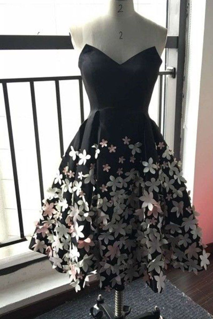 Prom dresses for teens, homecoming dress, black satin dress with handmade flowers