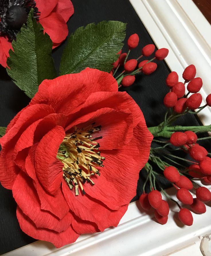 Crepe paper rose and berries                              …
