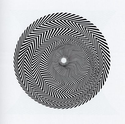 'Blaze 1' (1962) by British artist Bridget Riley (b.1931). Emulsion on hardboard, 43 x 43 in. via bittleston