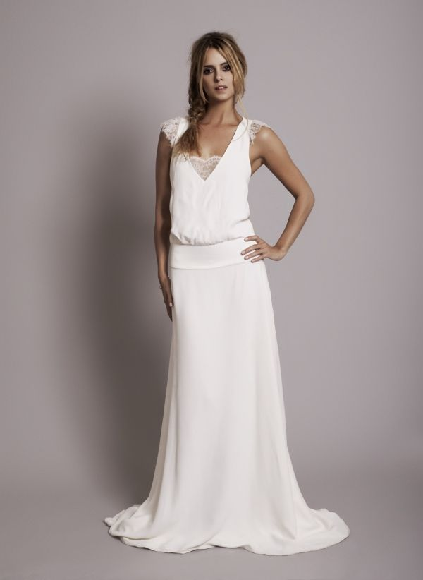 Love this designer.  Loving the boho/goddess look for the beach wedding. Simple different and pretty!